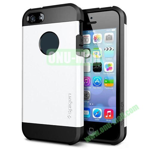 Hybrid Delicated PC+TPU Case For iPhone 5S 5 (White+Black)