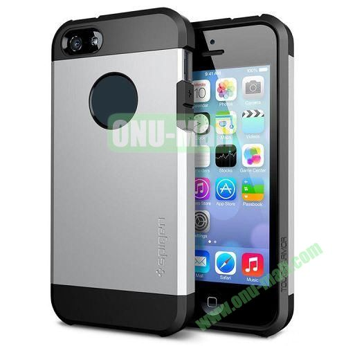 Hybrid Delicated PC+TPU Case For iPhone 5S 5 (Silver+Black)
