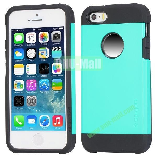 Hybrid Delicated PC+TPU Case For iPhone 5S 5 (Baby Blue+Black)