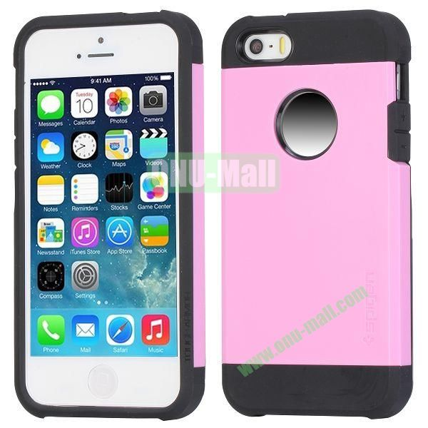 Hybrid Delicated PC+TPU Case For iPhone 5S 5 (Pink+Black)