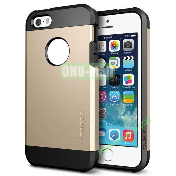 Hybrid Delicated PC+TPU Case For iPhone 5S 5 (Gold+Black)