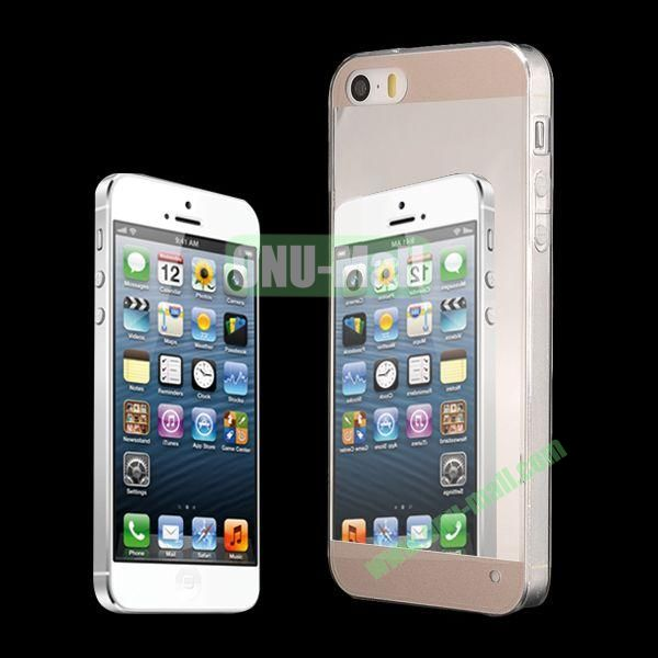 Ultra Thin Dual-color Mirror Style PC+TPU Hybrid Case for iPhone 5 5S (Gold)
