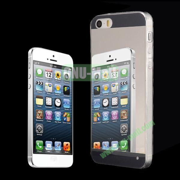 Ultra Thin Dual-color Mirror Style PC+TPU Hybrid Case for iPhone 5 5S (Black)