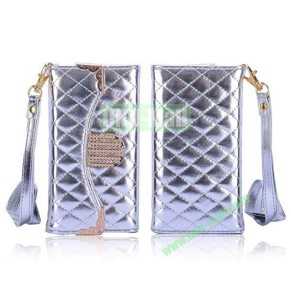 Luxury Wallet Style Grid Pattern PC+Leather Case with Strap for iPhone 5 5S (Silver)