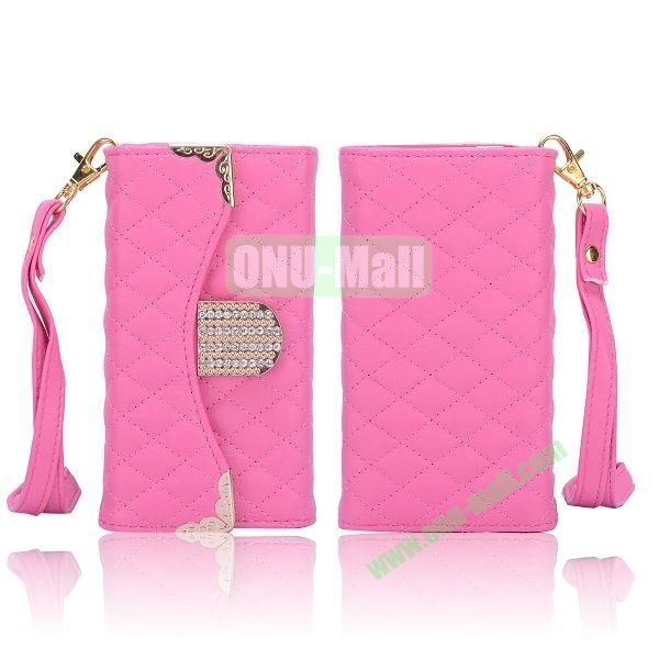 Luxury Wallet Style Grid Pattern PC+Leather Case with Strap for iPhone 5 5S (Rose)