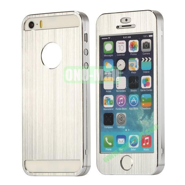 Detachable Front and Brushed Back Aluminium Hard Case for iPhone 55S (Silver)
