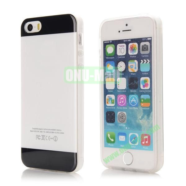 Mix Color Soft TPU Case for iPhone 5 5S with Logo (Black and White)