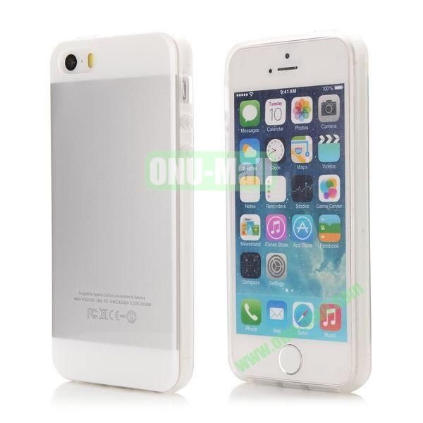 Mix Color Soft TPU Case for iPhone 5 5S with Logo (Grey and White)