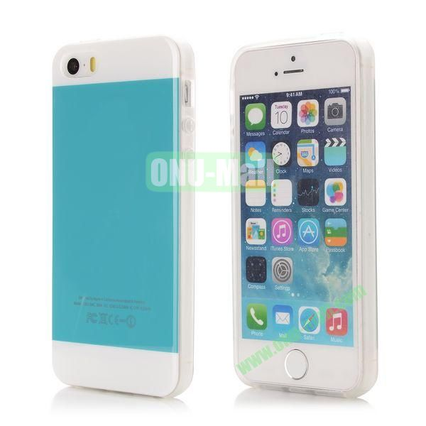 Mix Color Soft TPU Case for iPhone 5 5S with Logo (Blue and White)