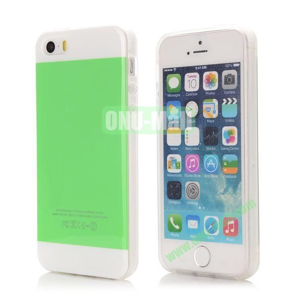 Mix Color Soft TPU Case for iPhone 5 5S with Logo (Green and White)