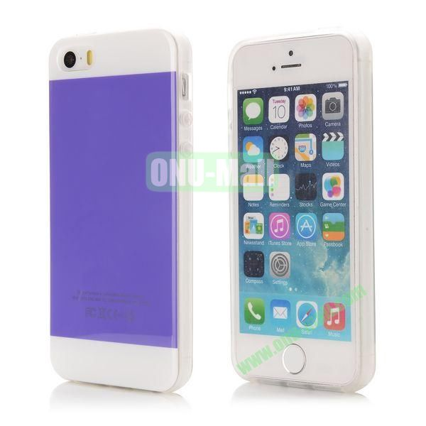 Mix Color Soft TPU Case for iPhone 5 5S with Logo (Purple and White)
