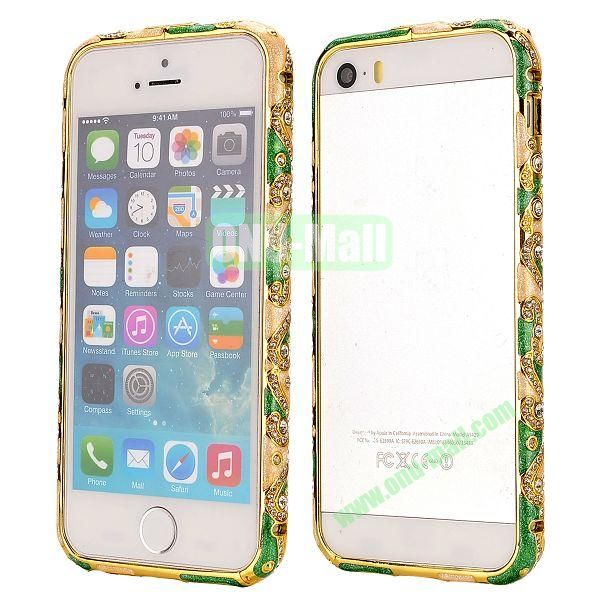 Diamond Embossed Cool China Ceramic Design Aluminum Frame Case for iPhone 5 5S (Green and Gold)