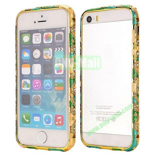 Diamond Embossed Cool China Ceramic Design Aluminum Frame Case for iPhone 5 5S (Green, Blue and Gold)