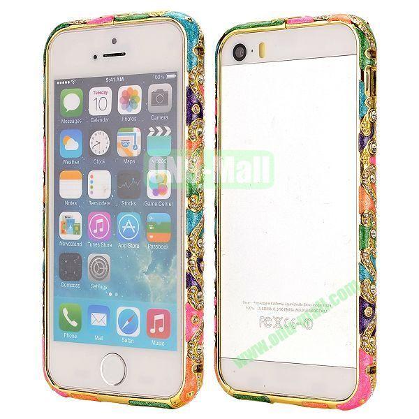 Diamond Embossed Cool China Ceramic Design Aluminum Frame Case for iPhone 5 5S (Full Color)