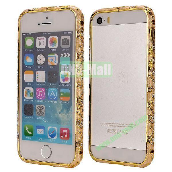 Diamond Embossed Cool China Ceramic Design Aluminum Frame Case for iPhone 5 5S (Gold)