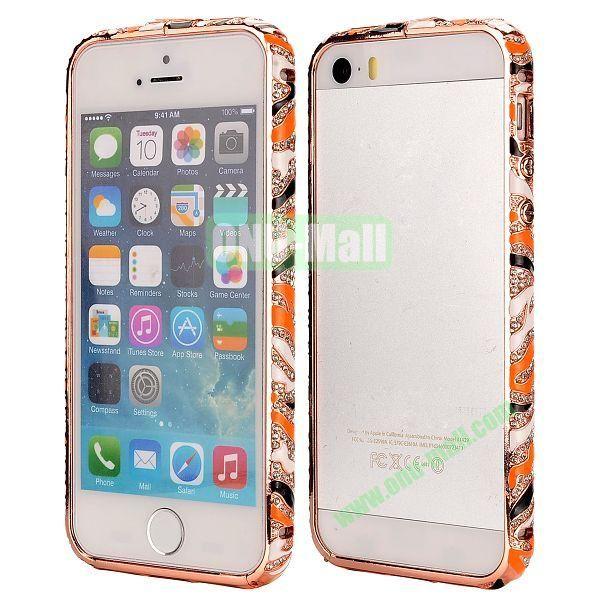 Diamond Embossed Cool China Ceramic Design Aluminum Frame Case for iPhone 5 5S (Orange and Black)