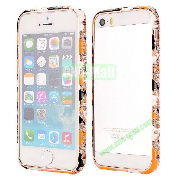 Diamond Embossed Cool China Ceramic Design Aluminum Frame Case for iPhone 5 5S (Black and Orange)