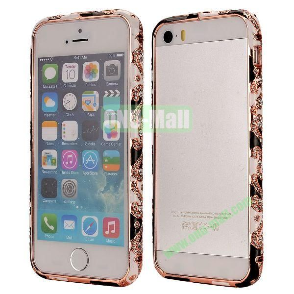 Diamond Embossed Cool China Ceramic Design Aluminum Frame Case for iPhone 5 5S (Black, White and Gold)