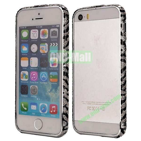 Diamond Embossed Cool China Ceramic Design Aluminum Frame Case for iPhone 5 5S (Black and Silver)