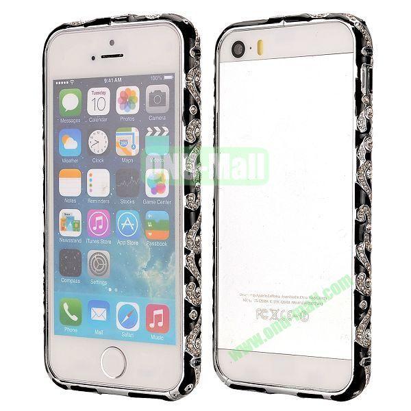 Diamond Embossed Cool China Ceramic Design Aluminum Frame Case for iPhone 5 5S (Black)