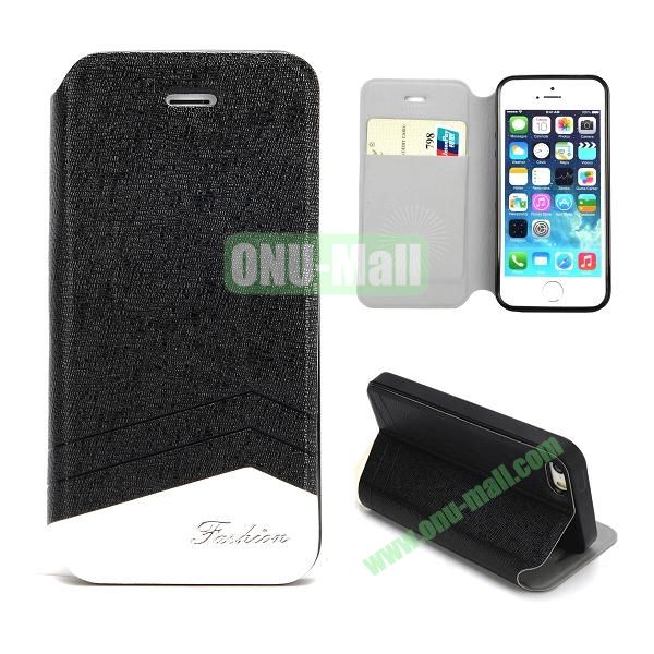 Double Color Fashion Design PU Leather Case For iPhone 5 5S With Card Slots (Black+White)