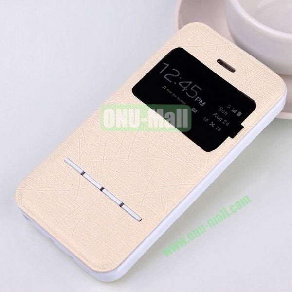 Abstract Lines Pattern TPU+PU Leather Case For iPhone 5 5S With Call ID Window (Beige)