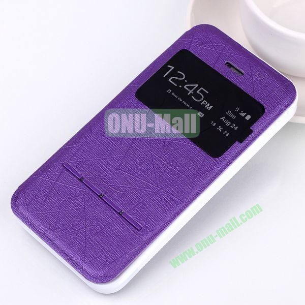 Abstract Lines Pattern TPU+PU Leather Case For iPhone 5 5S With Call ID Window (Purple)