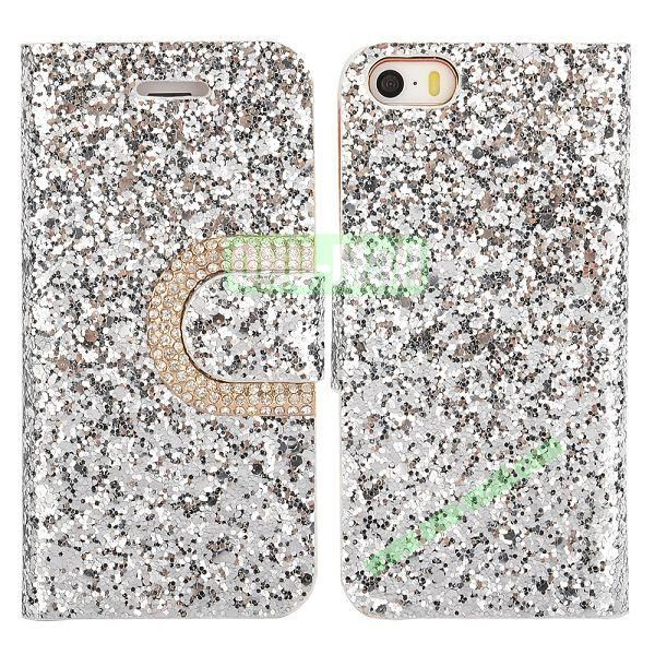 Crystal Surface Glitter Diamond Wallet Pattern Leather Case for iPhone 5 5S (Silvery)