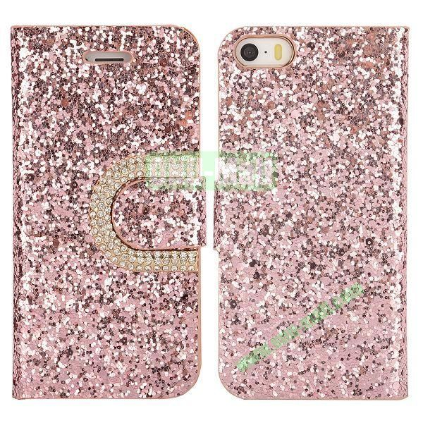 Crystal Surface Glitter Diamond Wallet Pattern Leather Case for iPhone 5 5S (Pink)