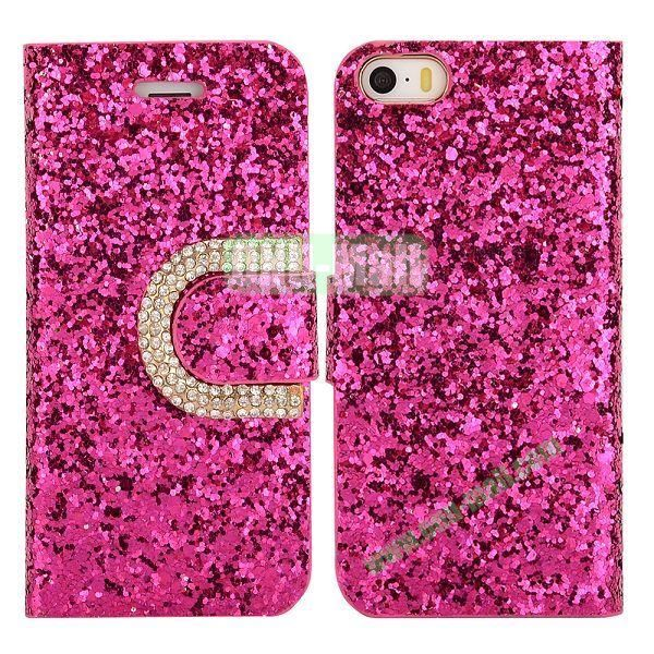 Crystal Surface Glitter Diamond Wallet Pattern Leather Case for iPhone 5 5S (Rose)