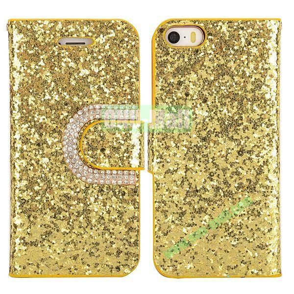 Crystal Surface Glitter Diamond Wallet Pattern Leather Case for iPhone 5 5S (Golden)