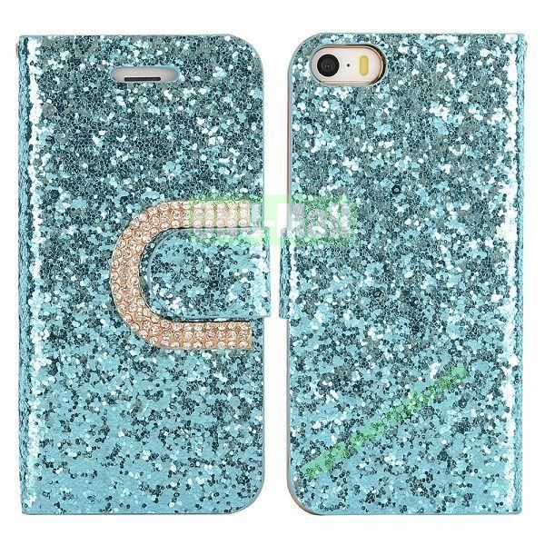 Crystal Surface Glitter Diamond Wallet Pattern Leather Case for iPhone 5 5S (Light Blue)