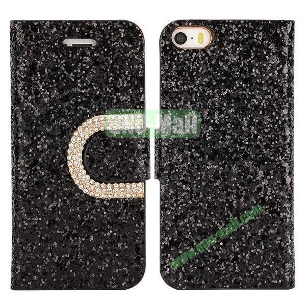 Crystal Surface Glitter Diamond Wallet Pattern Leather Case for iPhone 5 5S (Black)