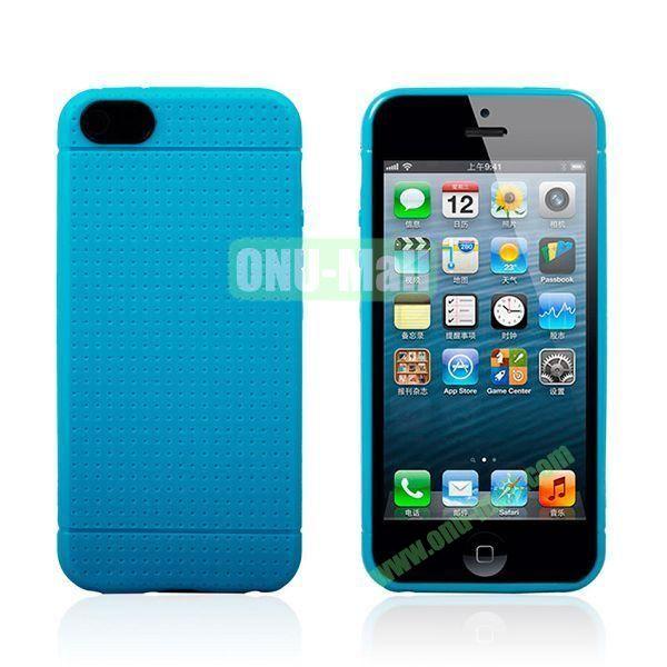 Flexible Mesh Pattern Hard Case for iPhone 55S (Dark Blue)