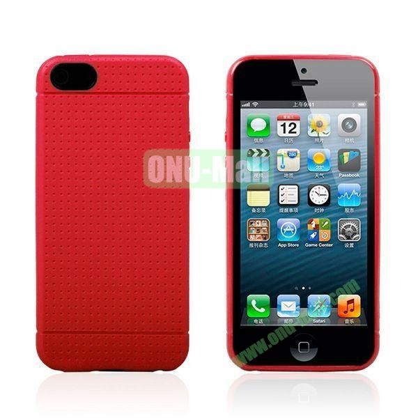 Flexible Mesh Pattern Hard Case for iPhone 55S (Red)
