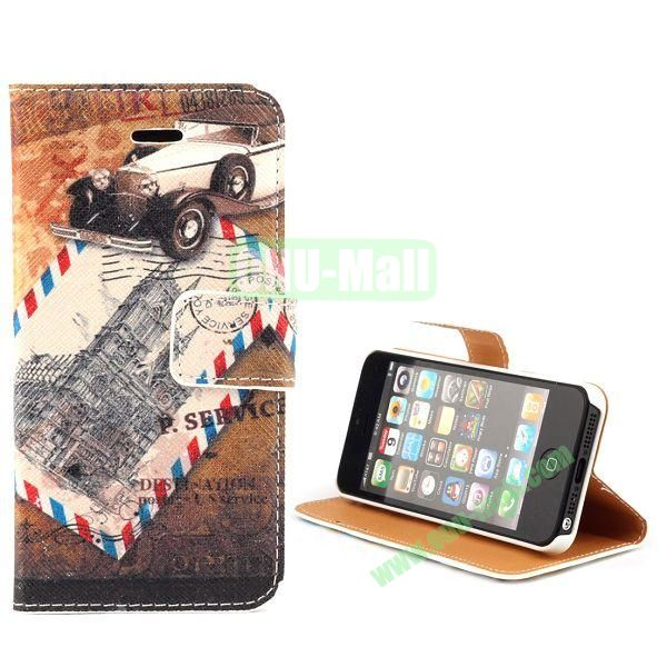 Unique Design Wallet Style Flip Pattern Leather Case for iPhone 5 5S (Stamp and Car Pattern)