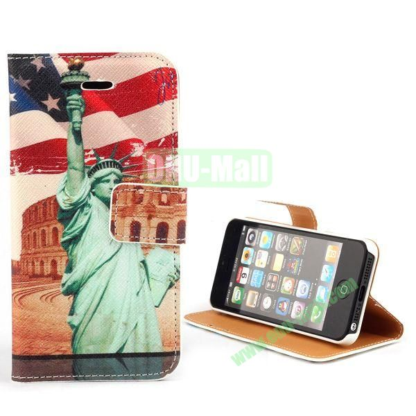 Unique Design Wallet Style Flip Pattern Leather Case for iPhone 5 5S (Statue of Liberty and USA Flag)