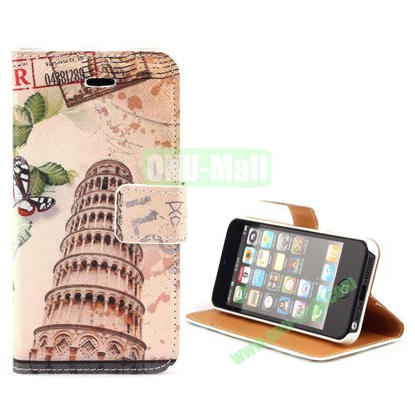 Unique Design Wallet Style Flip Pattern Leather Case for iPhone 5 5S (Leaning Tower of Pisa Pattern)