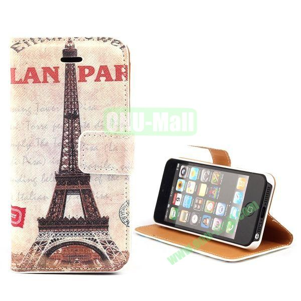 Unique Design Wallet Style Flip Pattern Leather Case for iPhone 5 5S (Retro Eiffel Tower Pattern)
