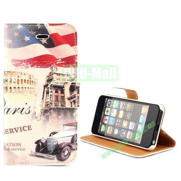 Unique Design Wallet Style Flip Pattern Leather Case for iPhone 5 5S (Ancient Car and USA Flag)