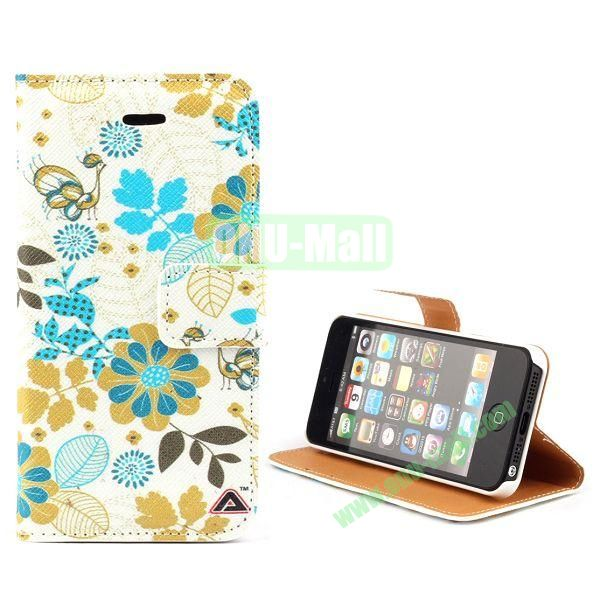 Unique Design Wallet Style Flip Pattern Leather Case for iPhone 5 5S (Colorful Leaves)
