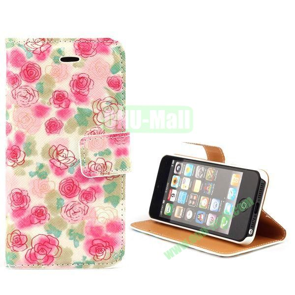 Unique Design Wallet Style Flip Pattern Leather Case for iPhone 5 5S (Rose Flowers)