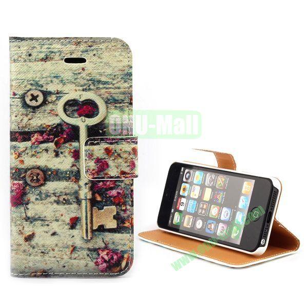 Unique Design Wallet Style Flip Pattern Leather Case for iPhone 5 5S (Heart Key Pattern)