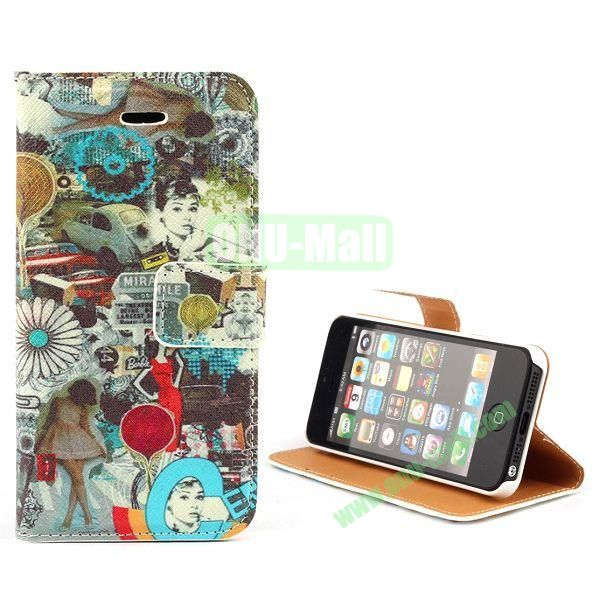 Unique Design Wallet Style Flip Pattern Leather Case for iPhone 5 5S (Human and Society)