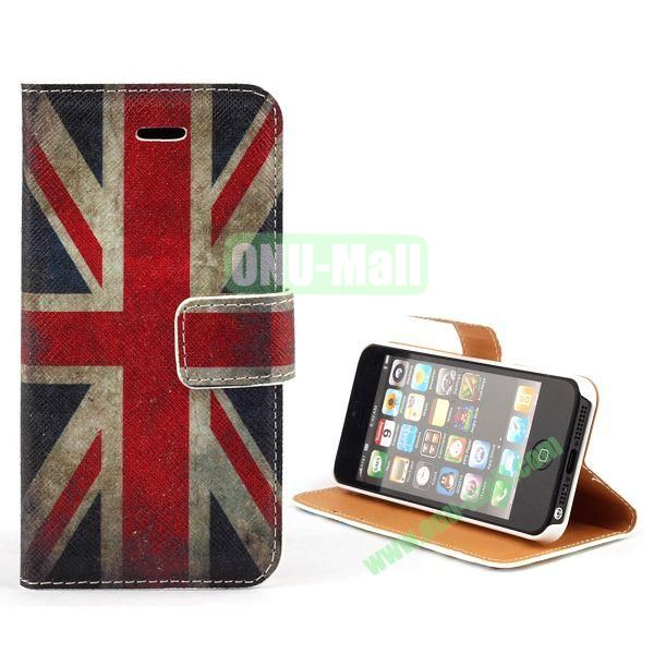 Unique Design Wallet Style Flip Pattern Leather Case for iPhone 5 5S (UK Flag Pattern)