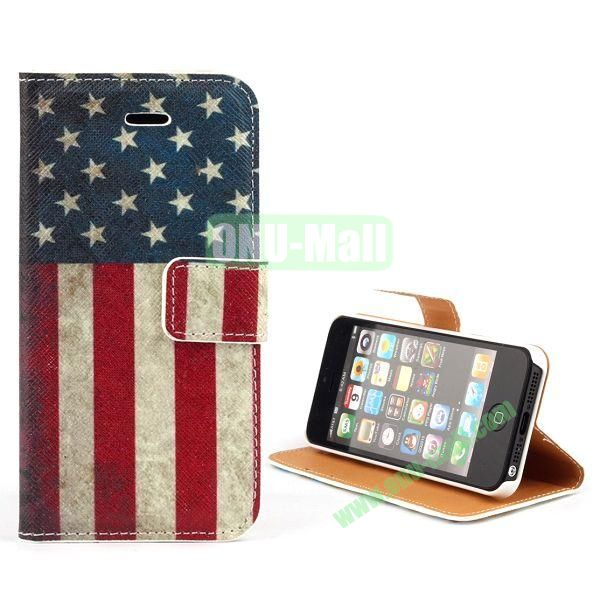 Unique Design Wallet Style Flip Pattern Leather Case for iPhone 5 5S (USA Flag Pattern)