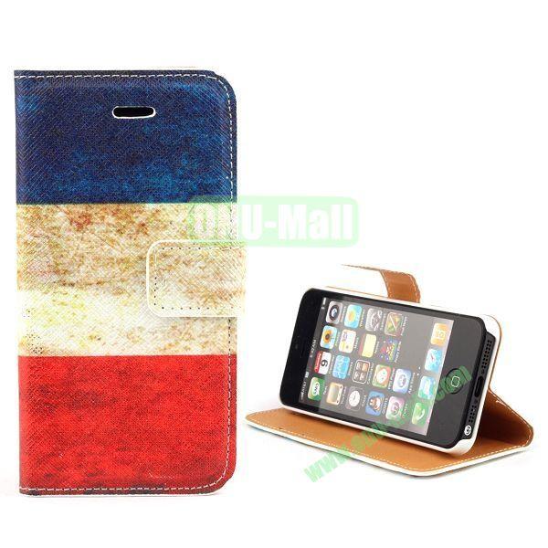 Unique Design Wallet Style Flip Pattern Leather Case for iPhone 5 5S (Yugoslavia Flag Pattern)