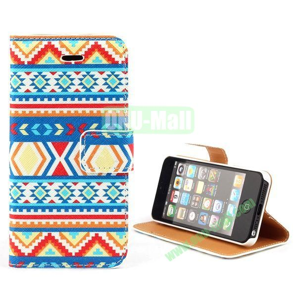 Unique Design Wallet Style Flip Pattern Leather Case for iPhone 5 5S (Colorized Tribal Pattern)