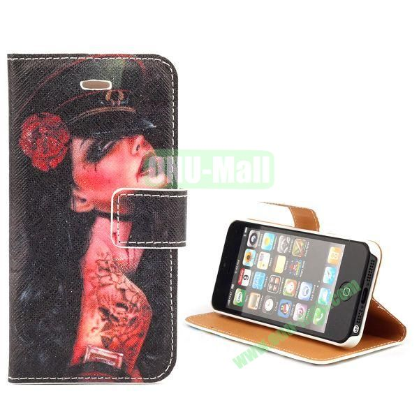Unique Design Wallet Style Flip Pattern Leather Case for iPhone 5 5S (Sexy Tattoo Rose Girl)