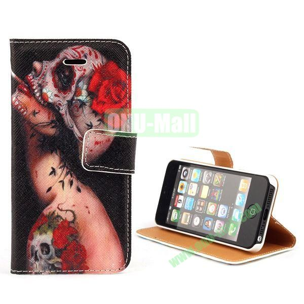 Unique Design Wallet Style Flip Pattern Leather Case for iPhone 5 5S (Tattoo Ugly Girl)